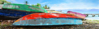 Purchase panoramic photos on canvas of old beach boats, such as Water Colors, (item-2815) from renowned fine art photographer Steve Vaughn.